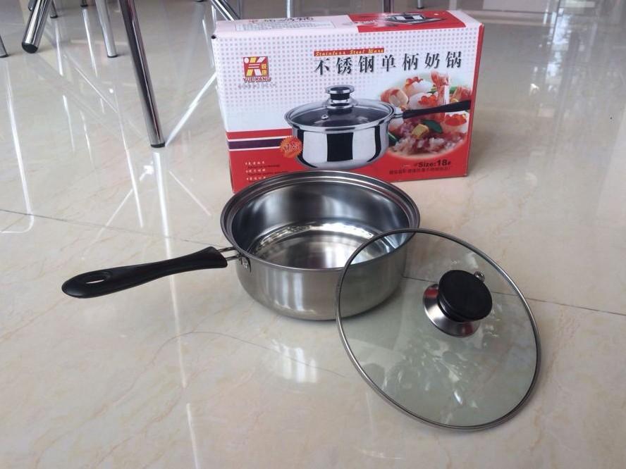 不锈钢单柄弧形奶锅电磁炉锅