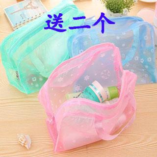 送二个颜色随机发碎花透明防水化妆品包洗漱包沐浴用品收纳袋