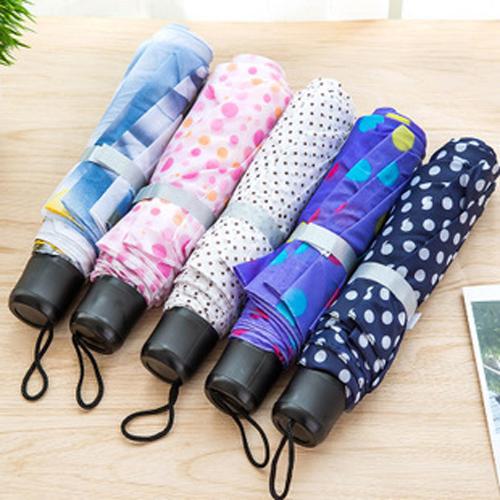 情侣花色短柄雨伞 三折伞 便携迷你折叠伞 雨伞随机色
